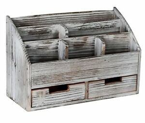 Superbpag Office Supplies Distressed Torched Wood Desk Organizer Vintage Rustic