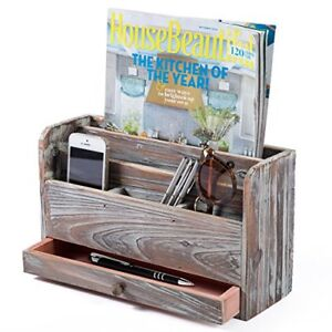 Mygift Torched Wood Desktop Office Supplies Organizer Mail Sorter And Document