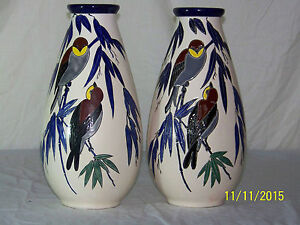 Pair Of Charles Catteau Art Deco Boch Freres Keramis Hand Painted Vases