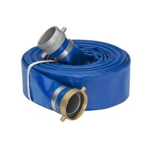 3 0 X 50 Blue Lay Flat Water Discharge Hose W pin Lug Fittings