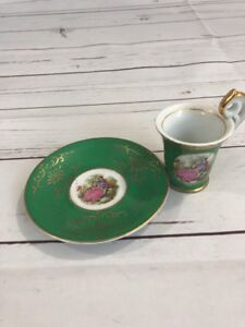 Royal Vienna Cup Teacup Saucer Courting Couple Moriage 3 Green Trim