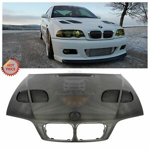 Gtr Style Real Carbon Fiber Exterior Vented Hood For Bmw 2001 2006 E46 M3 2 Door