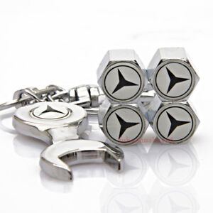 Car Accessories Tire Valve Caps Air Valve Dust Covers Keychain For Mercedes Benz