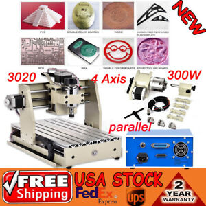 4 Axis Cnc 3020 Router Engraver Machine Mill Drill Vfd 300w Spindle 3d Cutter