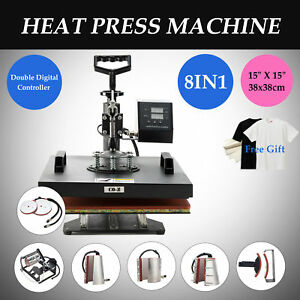 15 x15 T Shirt Heat Press Machine For Mug Hat Plate Cap 8 In 1 W silicone Pad