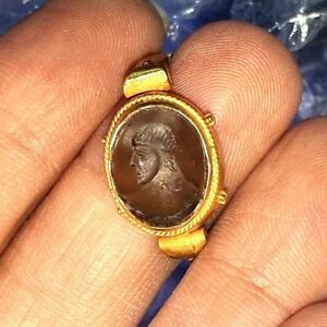 Ancient Crystal Intaglio Emperor King Face Solid 22k Gold Signet Ring 7 5 Us
