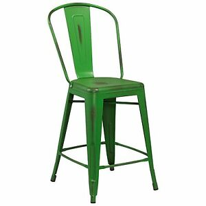 Tolix Style Metal Distressed Green Industrial Restaurant 24 Counter Stool