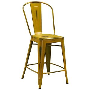 Tolix Style Metal Distressed Yellow Industrial Restaurant 24 Counter Stool