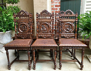 Set 6 Antique French Breton Brittany Carved Oak Dining Chair Leather Figural Art