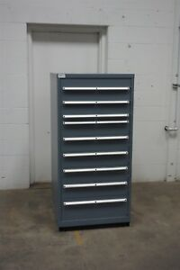 Used Lista 9 Drawer Cabinet Industrial Tool Parts Storage Bin 1513 Vidmar
