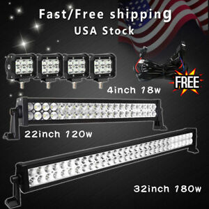 30inch Led Light Bar Combo 22in 4 Cree Pods Offroad Suv 4wd Atv Fog Jeep Wiring