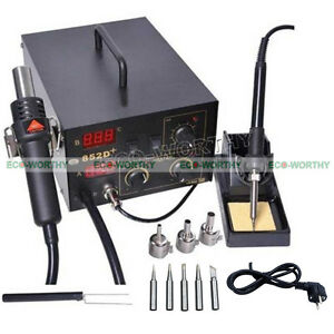 2in1 852d Smd Soldering Solder Rework Station Hot Air Iron Gun Bga Holder Tip