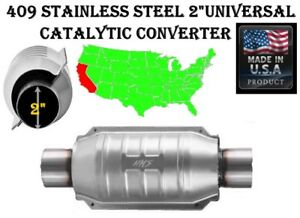 Universal High flow Catalytic Converter Round 2 In out 409ss Toyota Chevy Ford