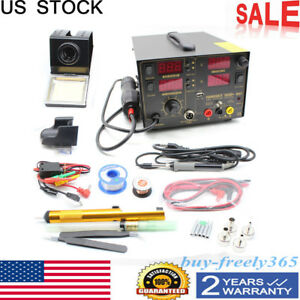 909d Soldering Rework Station Iron Welder Desoldering Hot Air Gun Tool 4 Nozzle