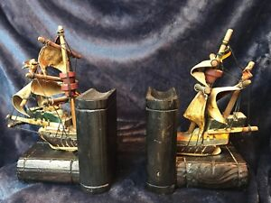 Hi End Vintage Spanish Wooden Model Ship Book Ends 9 Tall X 6 1 2 Wide