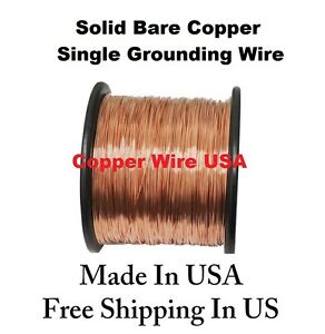 12 Awg Solid Bare Copper Single Grounding Wire 50 Ft 1 Lb Spool
