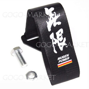 Black Jdm Mugen Power Racing Universal Front Rear Tow Strap Tow Hook Ribbon