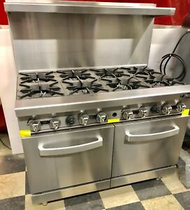 New 8 Burner Range Heavy Duty 48 Commercial Restaurant Stove Gas Double Oven