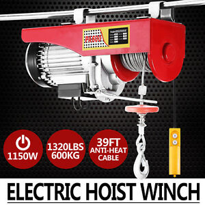1320lbs Electric Hoist Winch Lifting Engine Crane Wire Remote Control Hanging