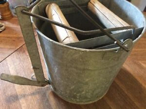 Vtg Wash Bucket 12 Galvanized Metal Mop Wringer Wood Rollers Steampunk Primitive
