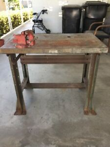 Vintage Hallowell Industrial Table Work Bench Green W Fuller Vise