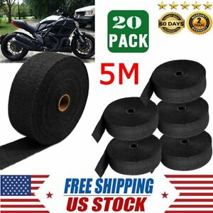 20 X 16ft Black Car Premium Fiberglass Header Exhaust Heat Wrap 6 Ties Kit Hx