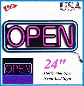 Led Open Sign Rectangular Hang Waterproof Neon Light Outdoor Business Sign Pvc H
