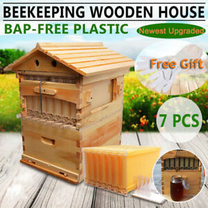 New Wooden Beekeeping Beehive Brood House Box 7 auto Flow Honey Hive Frames Kit
