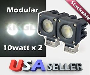 2x10w 750lm Stackable Heavy Duty Flood Led Work Light Offroad 4wd Truck 12 24v