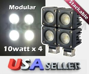 4x10w 750lm Stackable Heavy Duty Flood Led Work Light Offroad 4wd Truck 12 24v