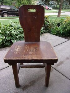 Vtg Medieval Gothic Chair Wood Old School Chair Bench Stool