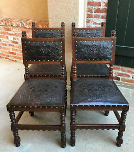 Set 4 Antique French Renaissance Carved Oak Dining Chair Embossed Leather Brown