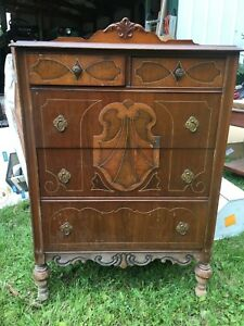 Antique Jacobean Tall Dresser Chest W Inlay Made In Lenoir North Carolina