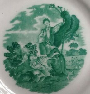 Antique 19th C Staffordshire Pearlware Pink Luster Plate Lustre Mourning