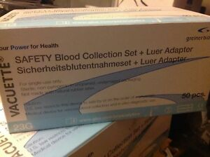 Case Of 20 Boxs Of 50 Vacuette Set Blood Collection W Luer Adapter 23x3 4