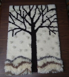 Large Vintage Tree Mid Century Modern Latch Hook Rug Wall Hanging Textile