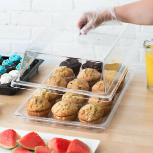 2 Pack Rectangular Top Cover Clear Countertop Display Acrylic Bakery Pastry Case