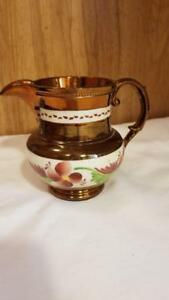 Lovely Antique 5 1 4 Copper Lustre Luster Pitcher W Flowers