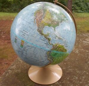 Vintage Replogle Globe 12 Metal Base Raised Relief In Excellent Condition