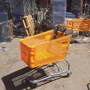 Used Shopping Carts Medium Plastic Basket Commercial Grocery Store Fixtures