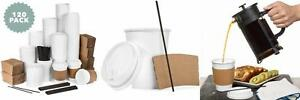 Average Joe 120 Pack 12 Oz Disposable Hot Paper Coffee Cups Lids