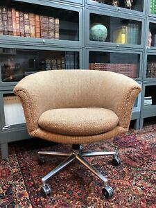 Scandiline Mid Century Danish Pod Swivel Chair Chrome Legs Casters