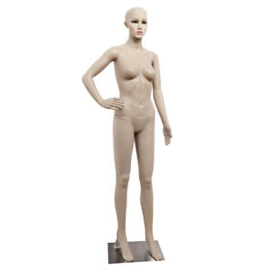Full Body Female Mannequin Plastic Clothes Display Head Turns Dress Form W Base