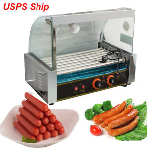 Commercial 7 Roller Hot Dog Grill Cooker Machine W cover For Restaurant Vending