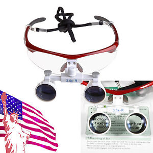 Usa Dental Surgical Medical Binocular Loupes Magnifying Glasses 3 5x420mm Red