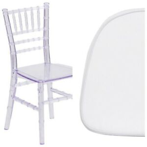 Kids Size Crystal Clear Chiavari Chair With White Fabric Seat Cushion