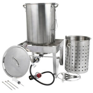 Backyard Pro 30 Qt Stainless Steel Turkey Deep Fryer Kit Steamer Pot Propane Lp
