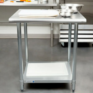 New 30 X 30 Stainless Steel Work Prep Table Adjustable Undershelf Restaurant