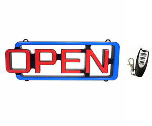 Led Open Sign With Wireless Remote 8 Speed Flashing Business Cm Glow New