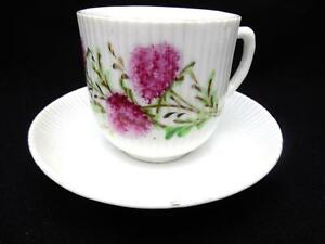 Antique Mustache Cup Saucer Ribbed W Hand Painted Pink Wildflowers